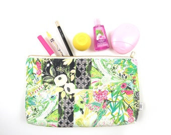 Large Zipper Pouch - Collage Poise Glam - makeup case, Bible journal supply case, make up bag, diaper clutch, project bag