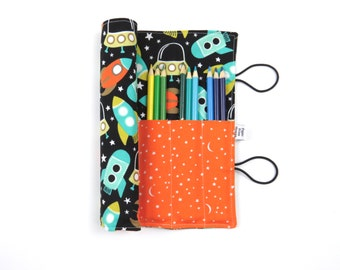 Pencil Roll - Space Station -  rocket pencil case, adult coloring, Bible journal accessory, animal colored pencil roll