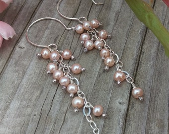 Cascade Pearl Earrings - Pink Freshwater Pearl Charms on Sterling Silver