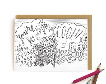 Ice Cream Cool - letterpress card
