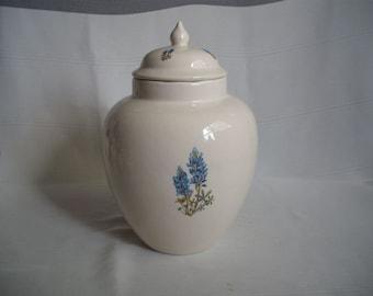 Lg/Med Ceramic Cremation Urn with Bluebonnets
