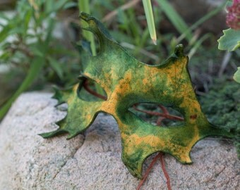 Fall Oak Leaf Split Leather Mask