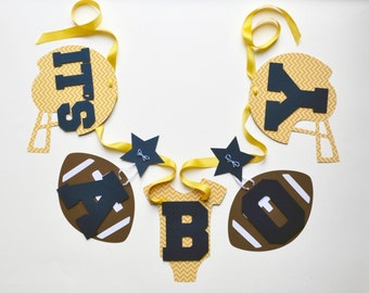 Football baby shower decorations yellow chevron and navy blue it's a boy banner by ParkersPrints on Etsy NEW Larger Size