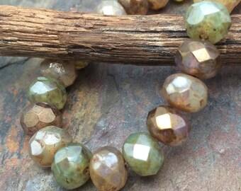 Sparkling Sea Stones 6x8mm Rondells Czech Glass