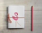 pink flamingo journal sketchbook , hand  Stitched, travel Journal with animal  linocut