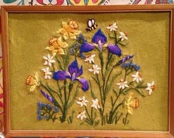 Vintage handmade purple floral flower crewel embroidery