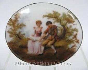 Huge Vintage Sterling and Porcelain Brooch Love Scene Man and Lady