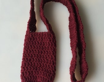 crochet water bottle holder carrier burgundy long acrylic machine washable gift idea drink hiking walking sippy cup