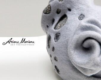 Outstanding Women Felt Hat - Light Gray Sculptural Millinery Headpiece - Piece Unique Wearable Textile Art - Warm Cozy Hat Design - France