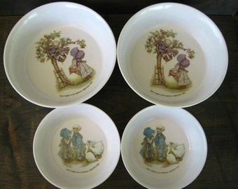CLEARANCE  Holly Hobbie Dishes, Holly Hobbie Bowls, Children's Dinnerware, Oneida Deluxe, Children's Dishes, American Greetings