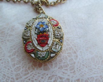 "Mosaic vintage pendant depicting flowers on gold colored 24"" chain"