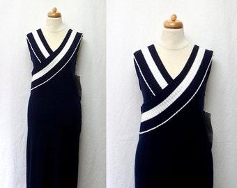 1970s / 80s Vintage Cotton Knit Dress / Navy & White Stripe Sleeveless Dress