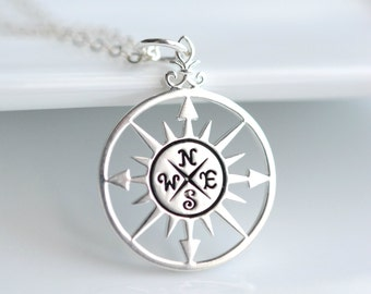 Silver Compass Necklace - Travel Jewelry - Wanderlust - Graduation Gift - Sterling Silver Travel Necklace - Enjoy the Journey Charm