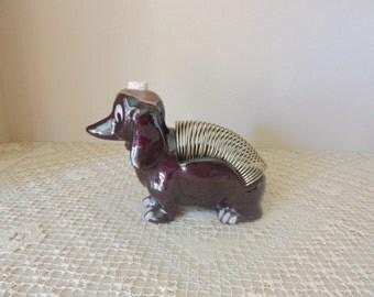 Ceramic Brown Dachshund Letter Holder. Vintage Dog Novelty Pen Holder. Dog Figurine Desk Accessory. Pet Lovers Gift. Memo Holder