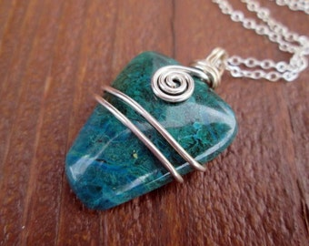 chrysocolla and sterling silver wire wrapped necklace