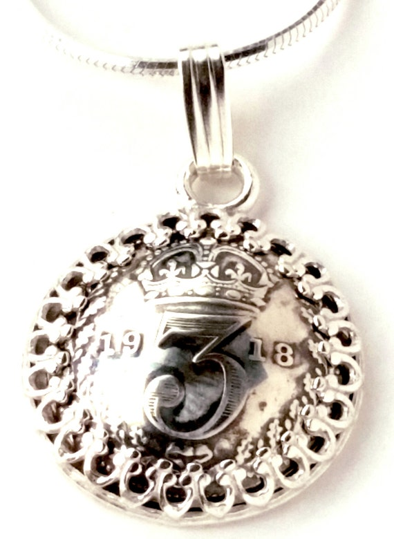 Silver Threepence Coin Pendant Silver Coin Jewelry England, Unique Jewelry 3 Pence UK Britain Vintage Antique Steampunk