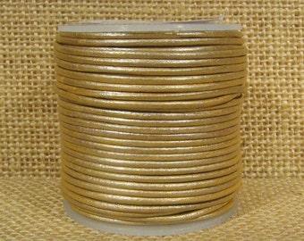 1.5mm Round Indian Leather - Cream Metallic - 221