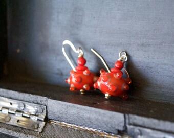 Red Urchin Earrings, Glass Bead Earrings, Lampwork Earrings, Beaded Earrings, Bumpy Polka Dot Earrings, Whimsical Earrings