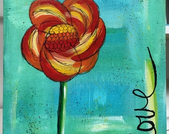 "Original Mixed Media on 9x12 Canvas Panel - Painting Home Decor Artwork - Folk Art - ""Love"""