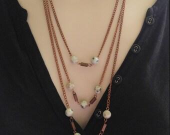 Antique Copper Triple Strand Necklace