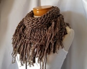 Brown chunky scarf Fringe triangle Knit wrap Tribal  bib wrap Boho shawl Wool southwestern bandana Chunky knits Winter neck warmer