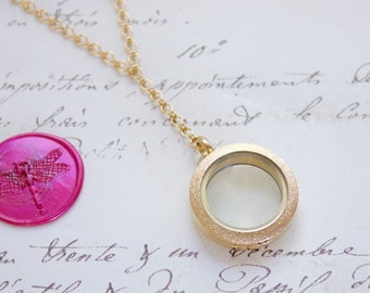 Glass Memory Keepsake Shake Locket Floating Y Necklace w/Stardust Finish - Stainless Steel, Yellow Gold, or Rose Gold Plated - Nickel Free