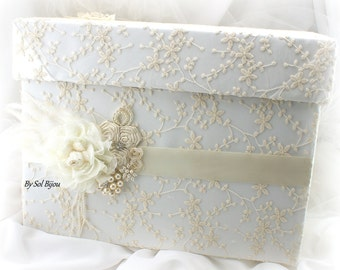 Wedding Money Box, Card Holder Box, Ivory, Cream, Keepsake Box, Vintage Wedding, Invitation Box, Card Box, Lace Money Box, Pearls, Crystals