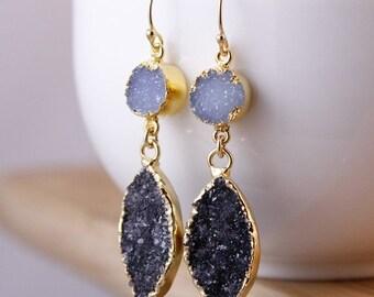 ON SALE Soft Blue Druzy and Black Druzy Leaf Earrings - Drop Earrings - Geode Slice Jewelry