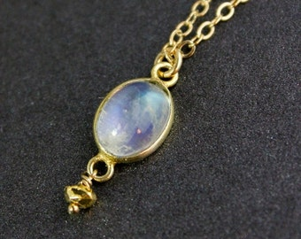 25% OFF Oval Rainbow Moonstone Necklace - 14k Gold Filled Chain - Birthstone Necklace