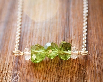 25% OFF Green Peridot Birthstone Necklace - August Birthstone - Crystal Quartz, 925 Silver