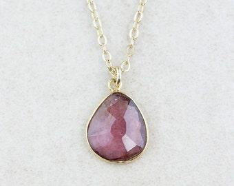 40 OFF SALE Dark, Pink Tourmaline Necklace - Tourmaline Pendants - 14K Gf