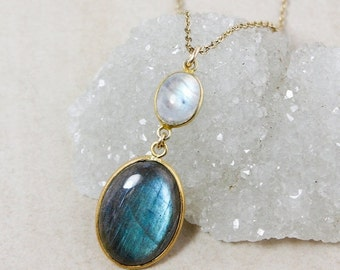 40 OFF SALE Rainbow Moonstone and Blue Labradorite Necklace – Gold-Plated Chain