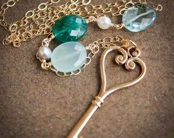 40 OFF SALE Gold Skeleton Key Necklace - Green Emerald Quartz, Chalcedony, Aqua Quartz - Long Necklace