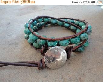 SALE Bisa Gutsu Turquoise Beaded Leather Wrap Bracelet