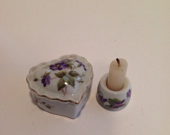 Vintage Heart Shaped Trinket Box and Candle Holder
