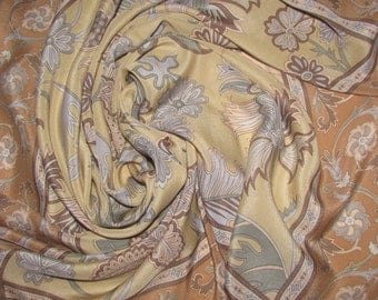 Vintage Liz Claiborne Large Square Silk Scarf - Soft Brown, Yellow Colourway, with Botanical Floral, Leaf Pattern - Flowers