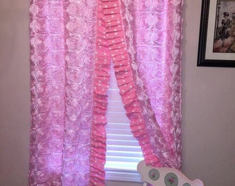 Pair of Pink Roses Curtain Panels, Pink Roses Panels, Pink Flower, Children's Panels, Designer Curtain Panels in Pink Roses