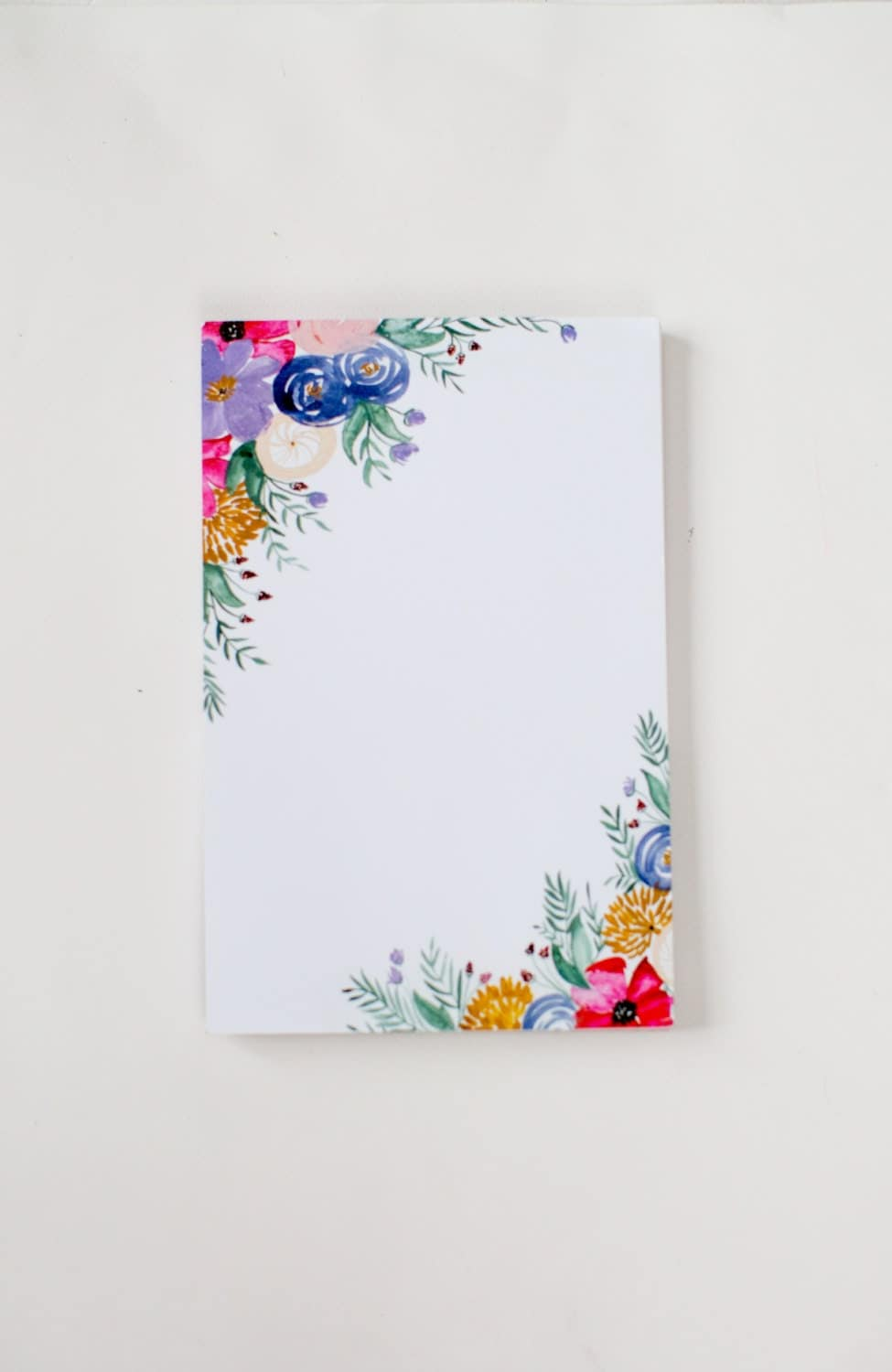 Floral notepad watercolor painted flowers office for Floral painting ideas