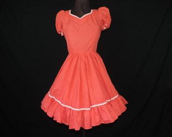 red polka dot swing dress 70s rockabilly square dance circle skirt medium