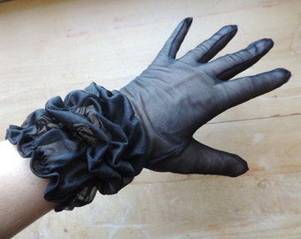 1950's black sheer gloves ruffle wrist gloves coffin ruched gothic gloves