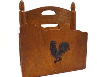 Farmhouse Decor Rooster Napkin Holder Vintage 1970s Wooden Letter Desk Organizer