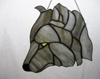 Gray wolf stained glass suncatcher
