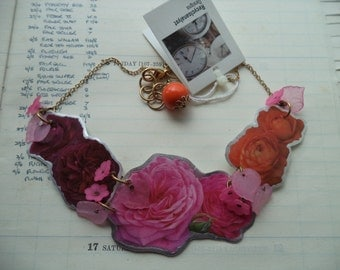 Handmade,OOAK Necklace,Roses Necklace,Laminated Images Necklace,Floral Necklace,Spring Summer 2017, Alternative Jewelry,London Fashion Week