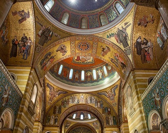 St. Louis Cathedral Basilica Ceiling Photograph, Architecture Fine Art Print. Missouri, Church, Opulent, Ornate, Home Decor, Wall Art