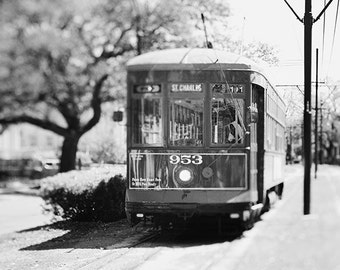 Black and White Travel Photography, Living Room Wall Decor, New Orleans Art, St Charles Streetcar Print, NOLA Art, 8x10 Print, Gift for Him