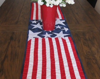 4th of July Stars and Striped Table Runner