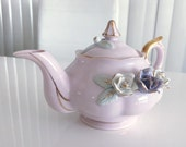 Beautiful Vintage Norcrest Small Tea Pot in Pink with Roses -- 1950's