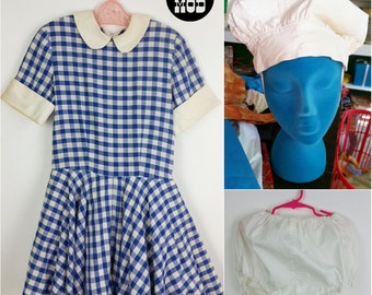 Vintage 60s Blueberry Miss Muffet Blue & White Plaid Babydoll Dress with Matching Bonnet Hat and Bloomers!