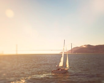 Sailboat Photograph - San Francisco - Golden Gate Bridge Wall Art - Art Print - golden, teal, orange - Nautical decor, travel photography,