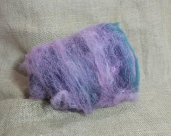 Spinning  Batt 21-- Alpaca and  Polypay Wool Batt -- Pink, Teal Purple --Midwest Grown -- Hand Dyed